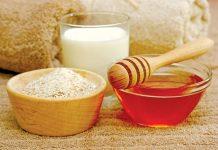 cám gạo trộn mật ong